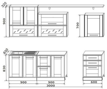 Чертеж кухни с указанными размерами