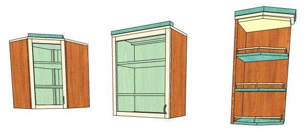 Три вида кухонных шкафов