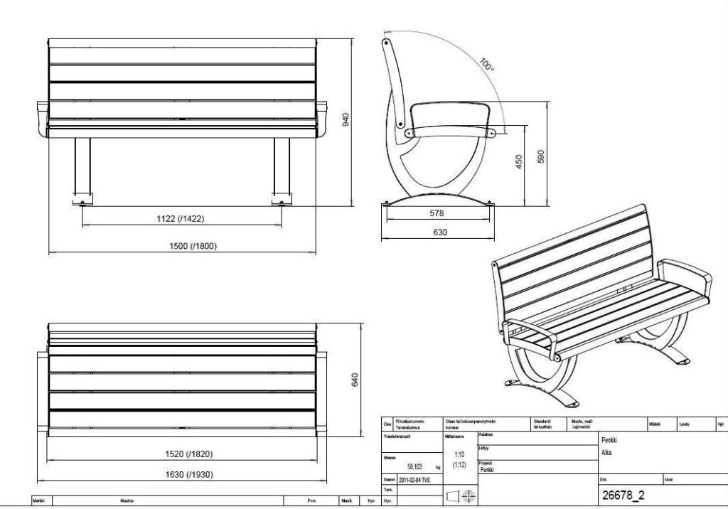 Схема металлической скамейки