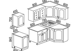 Схема кухни с размерами из ЛДСП