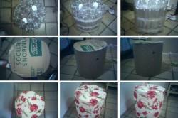 Процесс изготовления пуфика из пластиковых бутылок