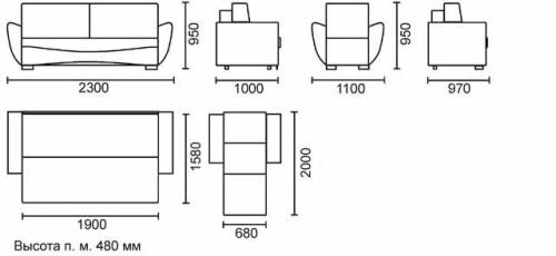 Схема размеров кресло кровати