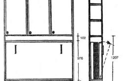 Схема откидной кровати в шкафу с размерами