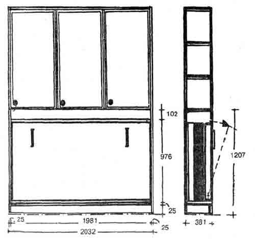 Схема откидной кровати в шкафу