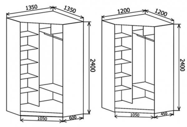 Схема углового шкафа с