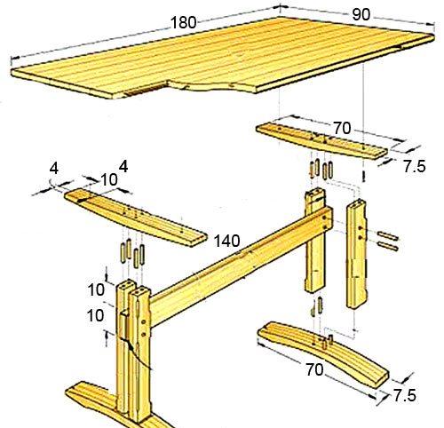 Изготовление стола своими руками чертежи