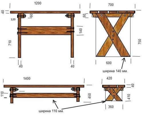 Вариант чертежа деревянного стола.