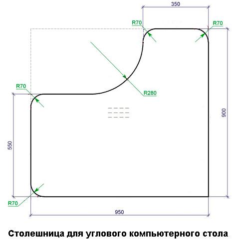 Схема столешницы для углового