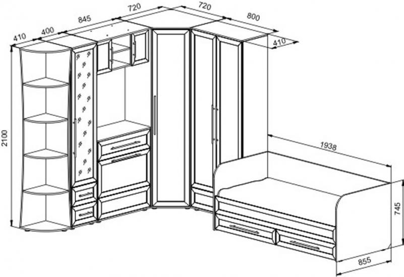 Схема углового шкафа