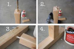 Этапы соединения ножек стола