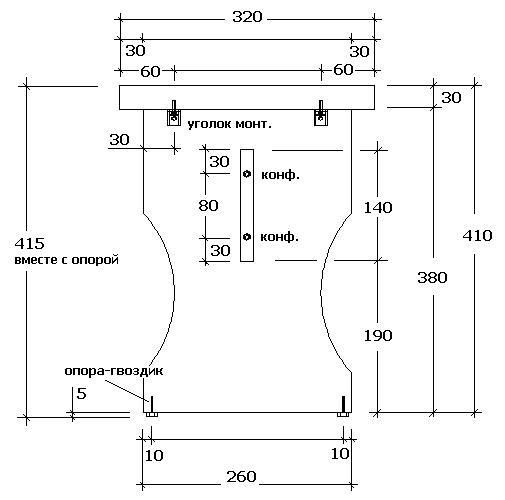 Схема боковой детали фигурной