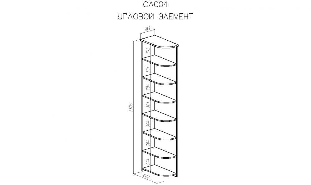 Схема угловой полки