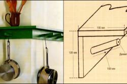Схема деревянной угловой настенной полки