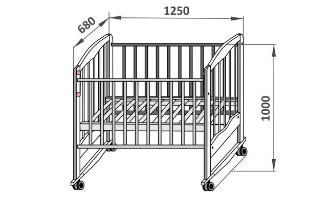 Схема детской кроватки с размерами