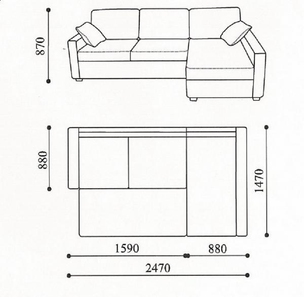 Схема размеров углового дивана