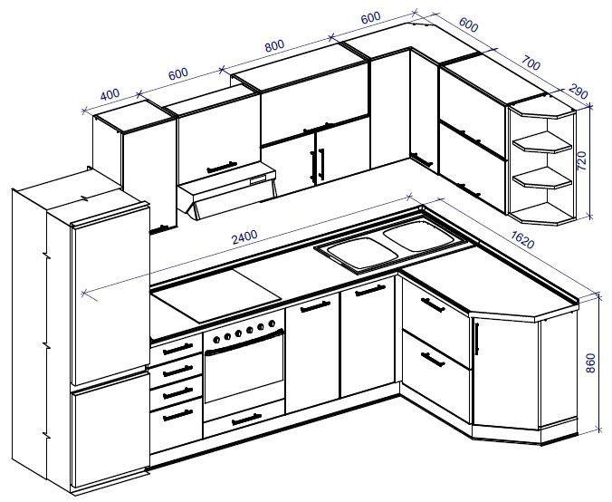 Кухня своими руками с чертежами и расчетами