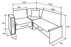 Габаритные размеры кухонного дивана