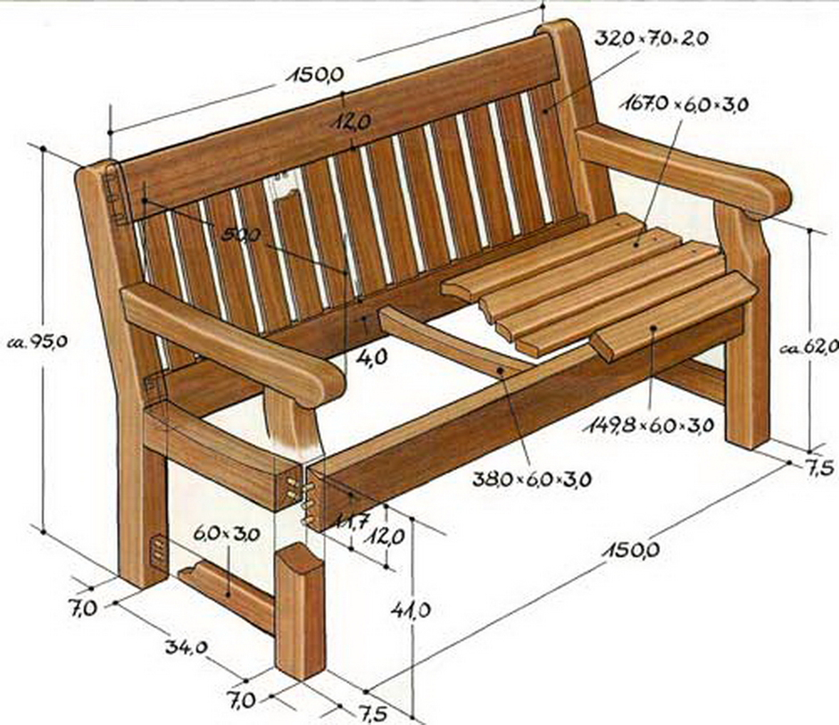 Садовые скамейки своими руками из дерева чертежи