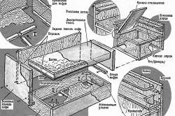 Кухонный диван из доски