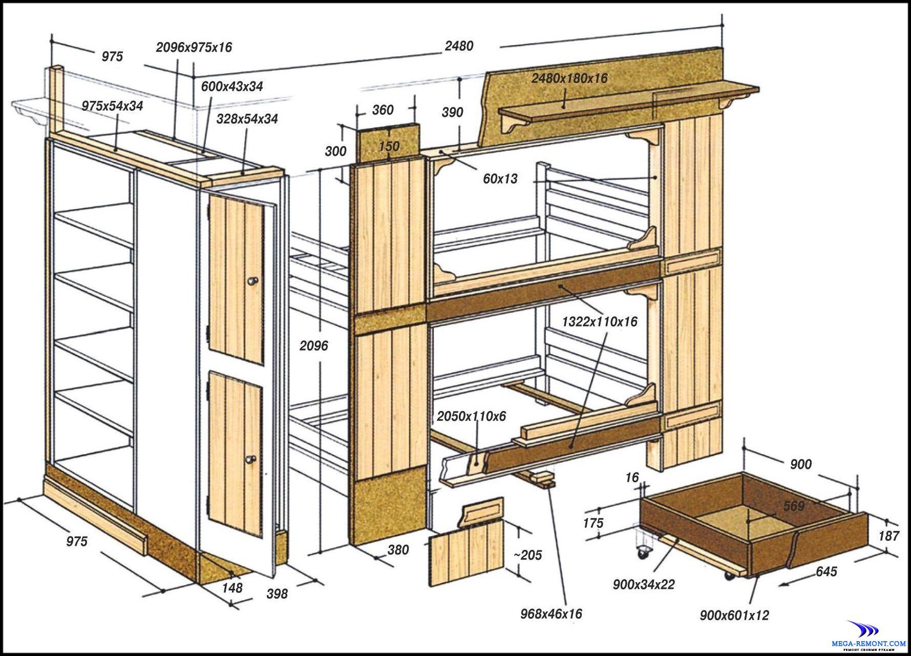 Чертеж двухъярусной кровати своими руками из дерева фото чертежи и ход работы