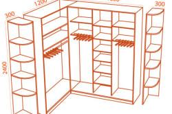 Схема углового шкафа купе с размерами
