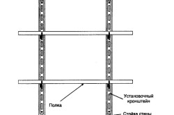 Схема устройства стеллажа на металлической основе