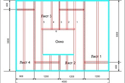 Схема установки каркаса и укладки гипсокартона