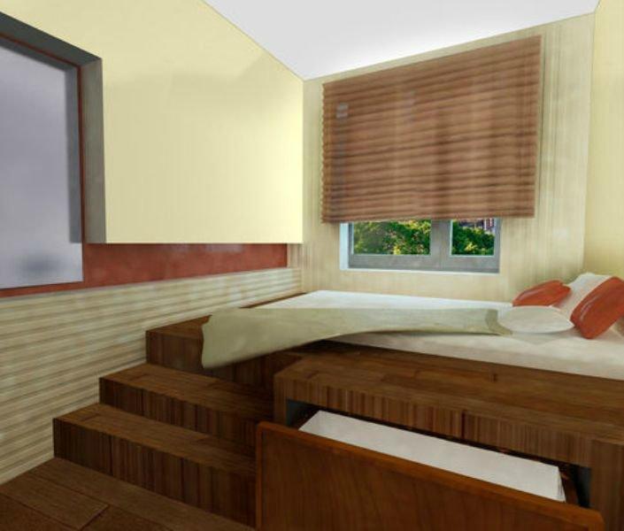 Интерьер узкой спальни: планируем с умом.
