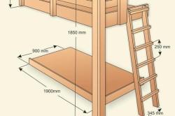 Схема двухэтажной кровати с размерами