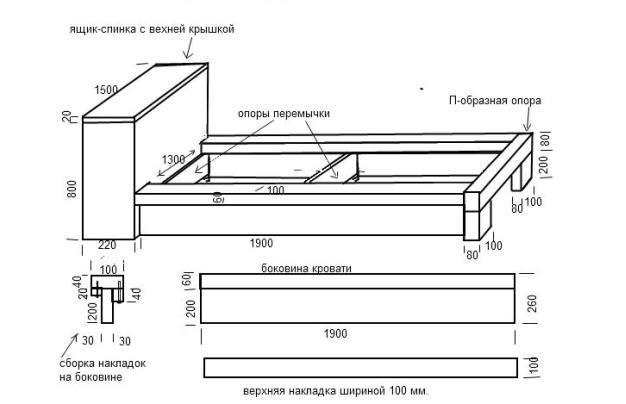 Кровать из дсп в домашних условиях чертежи