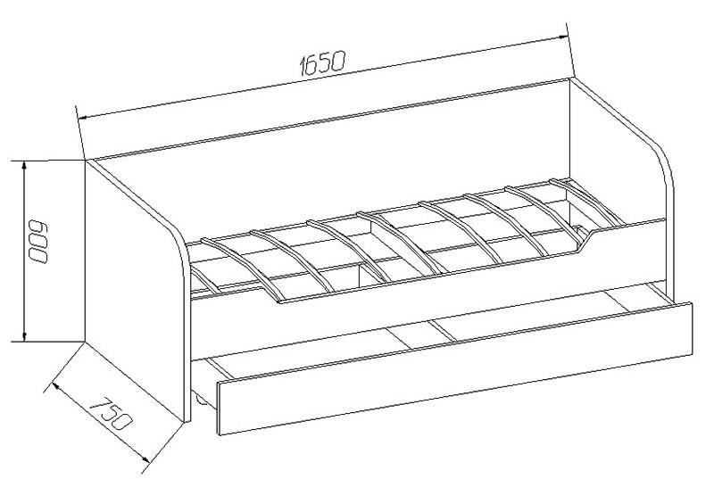 Схема кровати с выдвижной