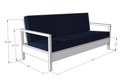 Чертеж дивана-кровати с размерами