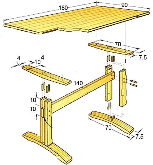 Размеры стола своими руками