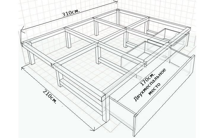 Чертеж подиума под кровать