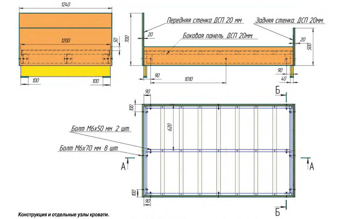 Схема конструкции двуспальной кровати