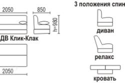 """Чертеж и варианты положения спинки дивана """"клик-кляк"""""""