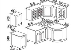 Чертеж кухонного гарнитура с учетом ЛДСП размеров