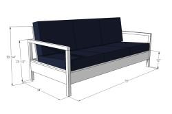 Чертеж раскладного дивана с размерами