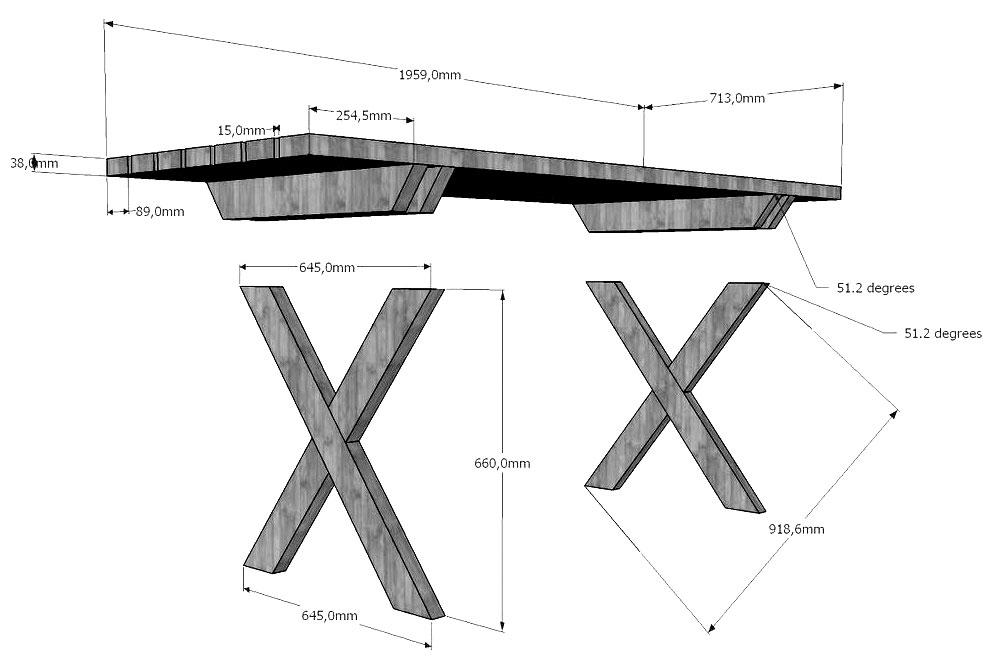 Схема стола с крестовыми