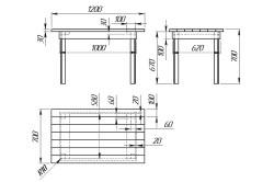 Чертеж для изготовления деревянного стола своими руками