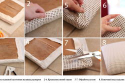 Этапы работы при смене перетяжки сиденья стула