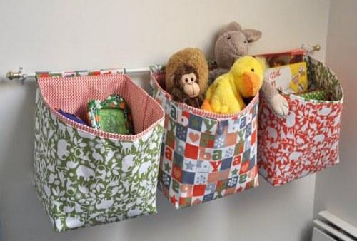 Кармашки из ткани для хранения игрушек