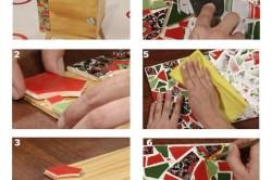 Этапы декорирования стола мозайкой