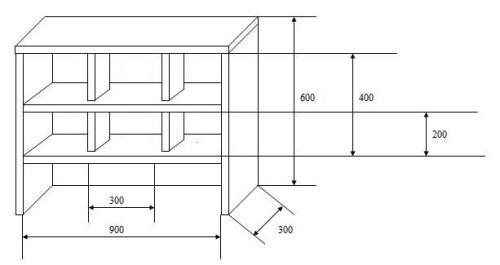 Проектирование картонной полки для обуви с размерами