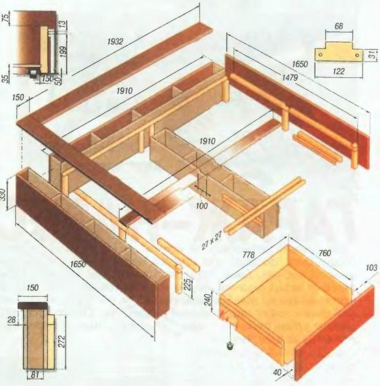 Размеры кровати с выдвижными