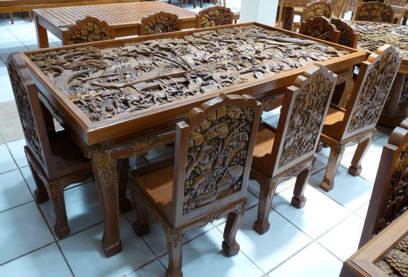 Пример резного стола и стульев