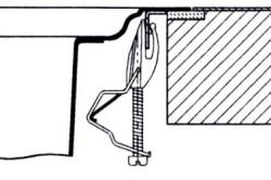 Схема стандартного крепления мойки к столешнице снизу