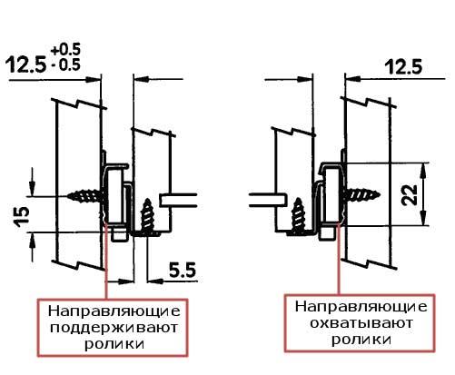 Схема монтажа роликовых направляющих
