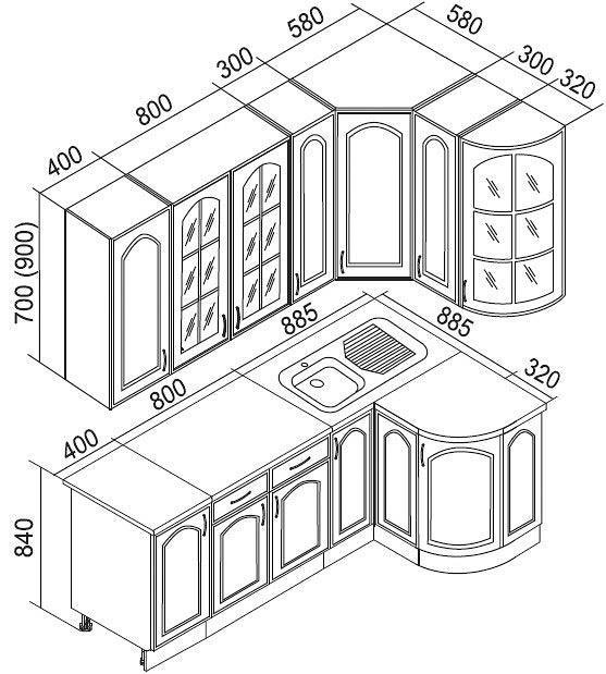 Схема углового кухонного