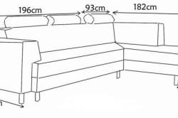 Размеры типичного углового дивана